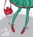 My red shoes a beautiful illustration of fashion handbag green stockings a beautiful silk skirt Stock Image