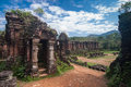 My son sanctuary vietnam remains of hindu tower temples at a unesco world heritage site in Royalty Free Stock Image