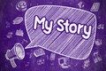 My Story - Cartoon Illustration on Purple Chalkboard.