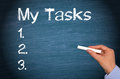 My Tasks - checklist with female hand and chalk Royalty Free Stock Photo