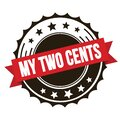 MY TWO CENTS text on red brown ribbon stamp Royalty Free Stock Photo