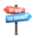 My way the highway road sign illustration design over white Stock Photos