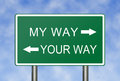 My way your way a clear choice between and concept for not reaching an agreement Royalty Free Stock Photography