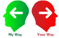 My way and your way an illustration with two people one labeled another Stock Image