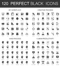 My workplace, creative process, mind process, human productivity black mini concept icons symbols. Modern vector icon