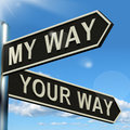 My Or Your Way Signpost Showing Conflict Or Disagreement Royalty Free Stock Photography