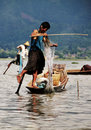 Myanmar fishermen working on Inle lake Stock Image