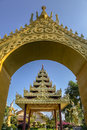 Myanmar garden southeast asia architecture style golden gate and buddhist pagoda Stock Photo
