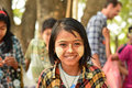 Myanmar girl with thanaka paste on her face Royalty Free Stock Images