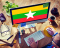Myanmar National Flag Government Freedom LIberty Concept Royalty Free Stock Photo