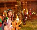 Myanmar string puppet for sale in Bagan Royalty Free Stock Photo