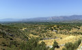 Mycenae greece view of vicinities from the hill Royalty Free Stock Photo