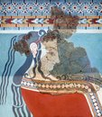 Mycenaean Fresco with woman from the later Tiryns palace, Greece Royalty Free Stock Photo