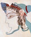 Mycenaean fresco wall painting fragment depicting a woman from a ceremonial procession in Tiryns palace Royalty Free Stock Photo