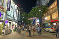 Myeongdong shopping street in seoul south korea at night Royalty Free Stock Images