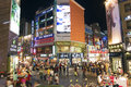 Myeongdong shopping street in seoul south korea at night Royalty Free Stock Photography