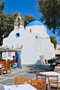 Mykonos blue church Royalty Free Stock Photography
