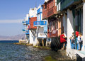MYKONOS, GREECE-OCTOBER 20: Little Venice in Mykonos, Greece Stock Photos