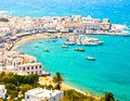 Mykonos greece town and harbor viewed from above is one of the worlds top tourist destinations Stock Images