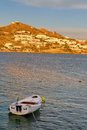 Mykonos island cove and boat greek with Stock Photography