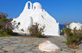 Mykonos island in greece old church of panagia paraportiani at Royalty Free Stock Photos