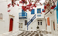 Mykonos island in greece traditional streets and houses at Royalty Free Stock Images