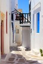 Mykonos lanes whitewashed street in the old town of greece Stock Photos