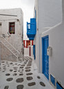 Mykonos narrow street Royalty Free Stock Photography