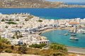 Mykonos town view of the port of on the sea in greece from a hilltop Stock Photography