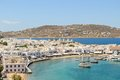 Mykonos town view of the port of on the sea in greece from a hilltop Stock Photo