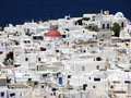 Mykonos white houses panoramic view at and church Royalty Free Stock Photo