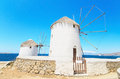 Mykonos windmill greek islands famous greece Royalty Free Stock Photo