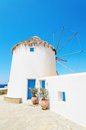 Mykonos windmill greek islands famous greece Stock Image