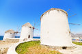 Mykonos windmill greek islands famous greece Royalty Free Stock Images