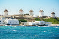 Mykonos windmills five popular tourist attraction on the island Royalty Free Stock Photos
