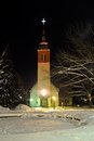 Myllykoski church in finland at cold winter night Royalty Free Stock Photos