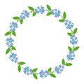 Myosotis forget-me-nots floral plant decor border wreath dark