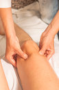 Myotherapy and trigger points on athlete's foot Royalty Free Stock Image