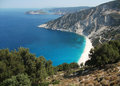 Myrtos beach famous in the region pylaros in north west of kefalonia island ionian sea greece Royalty Free Stock Photography