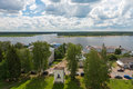 Myshkin on the volga view from bell tower of cathedral of assumption Royalty Free Stock Photo
