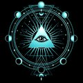Mysterious background: pyramid, all-seeing eye, sacred geometry.