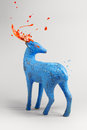 Mysterious blue deer with bursting paint Royalty Free Stock Photo