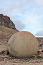Mysterious boulders and pebbles of champ island franz jozef land stone spheres geodes Stock Photos