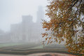 Mysterious castle in fog with autumn tree on the front Royalty Free Stock Photo