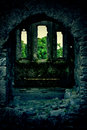 Mysterious castle with trinity windows in ireland Stock Photography