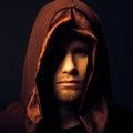 Mysterious catholic monk on dark background studio shot Royalty Free Stock Photos