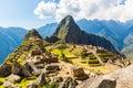 Mysterious city - Machu Picchu, Peru,South America. The Incan ruins. Example of  polygonal masonry Royalty Free Stock Photo