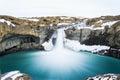 Mysterious huge waterfall among mountain