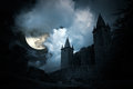 Mysterious medieval castle in a full moon night Stock Image