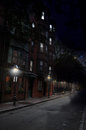 Mysterious Night Scence, Historic Boston Street Stock Photos